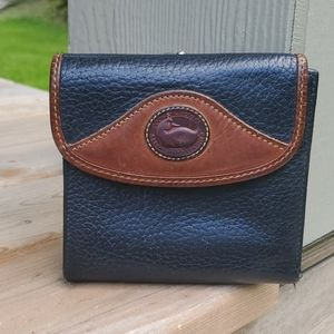 Wallet. Navy with British tan trim.